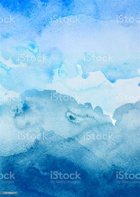 Blue Watercolor Background Abstract Ocean Stock Photo