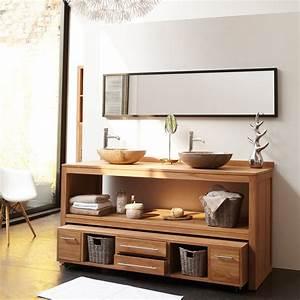 Meuble Vasque Bois Salle De Bain : meuble sous vasque bois meubles sous vasque salle de bain tikamoon avec meuble salle de bain en ~ Voncanada.com Idées de Décoration