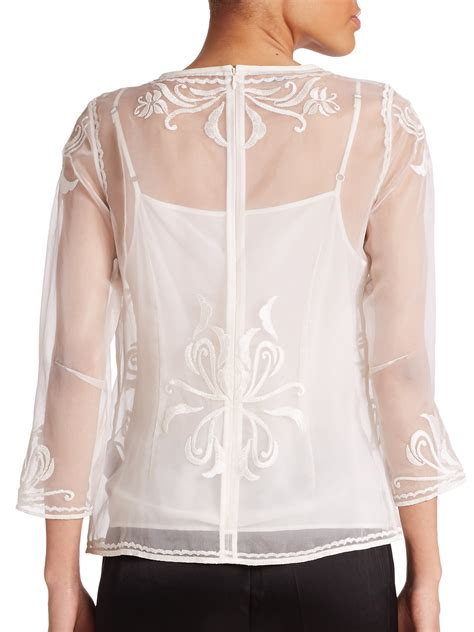 sheer white blouse escada embroidered sheer blouse in white lyst