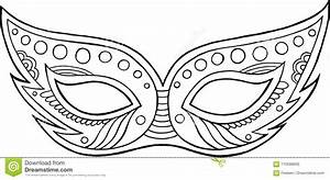 Mardi Gras Mask - Outline Isolated Element  Coloring Page For Ad Stock Vector