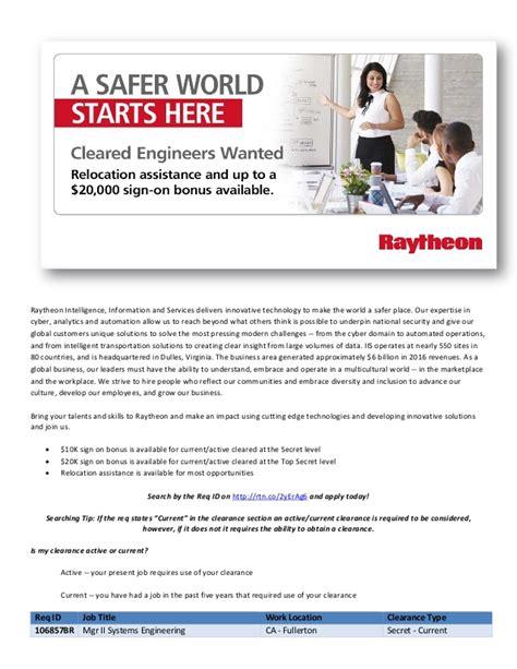 raytheon iis hot jobs     sign  bonus