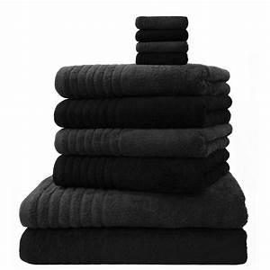 Handtücher Set Grau : 10 tlg handtuch set 2 duscht cher 4 handt cher 4 waschhandschuhe grau schwarz ebay ~ Indierocktalk.com Haus und Dekorationen