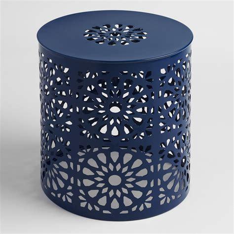 metal garden stool peacoat blue punched metal soleil drum stool world market