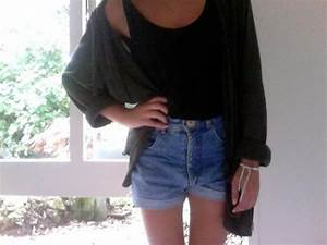 Jacket black tank top cardigan high waisted denim shorts concert girl outfit idea ...