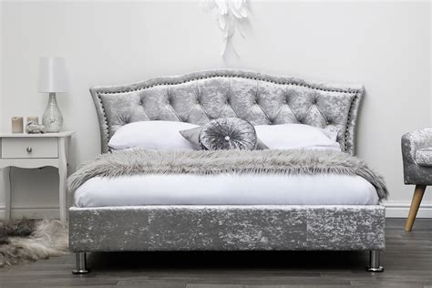 Georgia Silver Crushed Velvet Upholstered Designer Bed