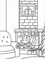 Coloring Christmas Pages Stockings Fireplace Stocking Printable Sheets Unique Mantle Mpmschoolsupplies Ornaments Ornament sketch template