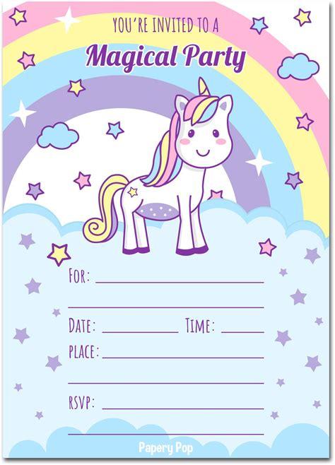 unicorn birthday invitations  envelopes kids