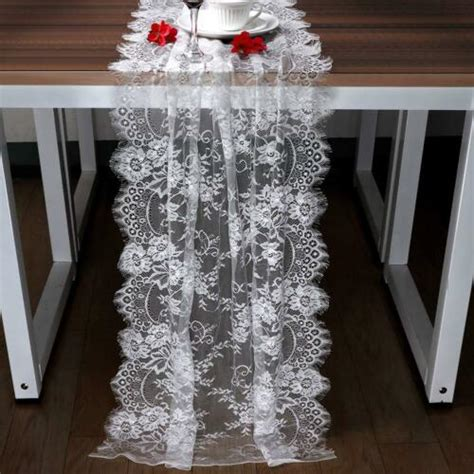 white lace floral table runner wedding banquet party boho