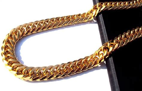 Heavy MENS 24K SOLID GOLD FINISH THICK MIAMI CUBAN LINK