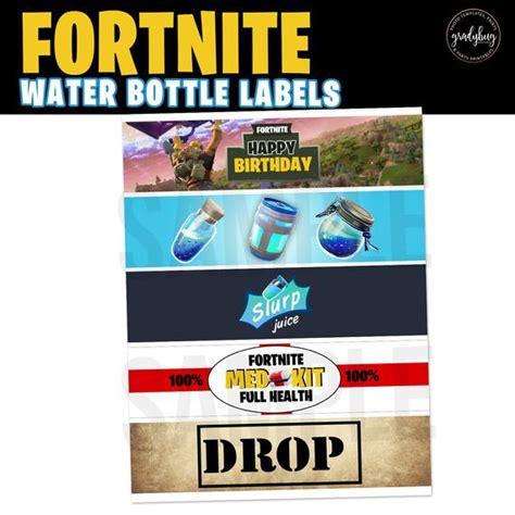 fortnite printable fortnite water bottle labels xbox etsy