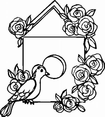 Bird Coloring Pages Roses Decorating