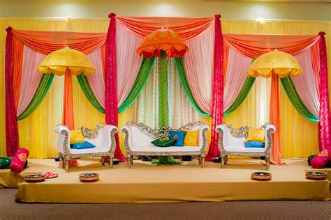 bright indian stage decor holud in 2019 mehndi stage