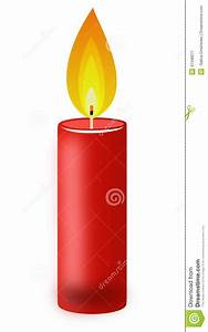 Conflagrant Candle Of Red Color On A White Background ...