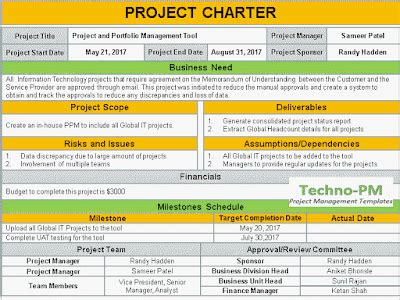 project charter template   project charter