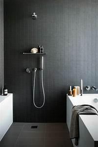 Abat Jour Salle De Bain : la beaut de la salle de bain noire en 44 images ~ Melissatoandfro.com Idées de Décoration
