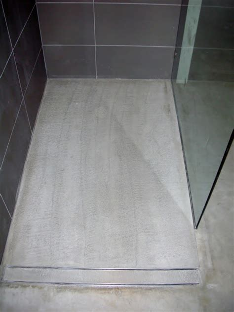 mode concrete modern open concept bathroom featuring a concrete floor a curbless shower and