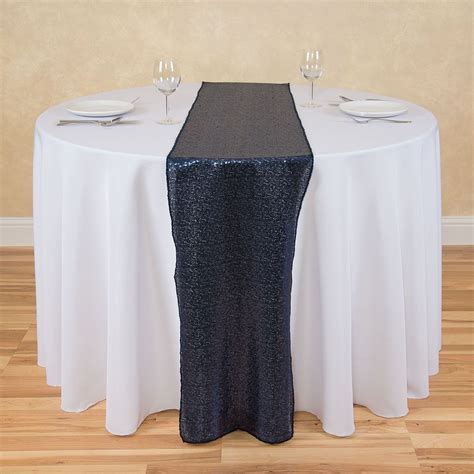 14 x 108 in. Sequin Table Runner Navy Blue: Linen Tablecloth
