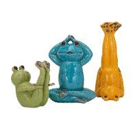 small green yoga ceramic frog figurine rc willey