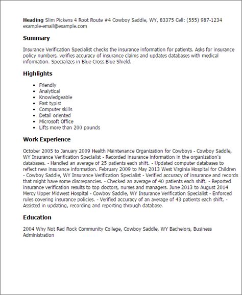 resume for insurance verification specialist professional insurance verification specialist templates to showcase your talent myperfectresume