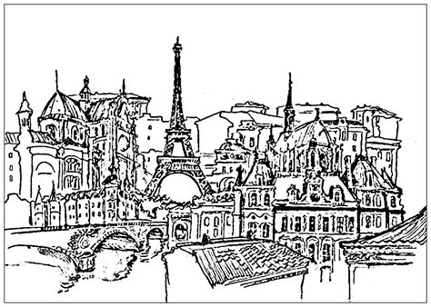 eiffel tower coloring pages  adults