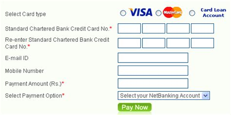 Go to the address standardchartered.co.in & click on online banking. Standard Chartered Credit Card Bill Desk ~ billdesk