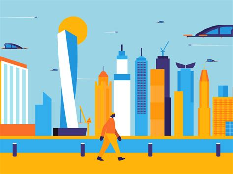 urban landscapes lobsterstudio gif character walkcycle