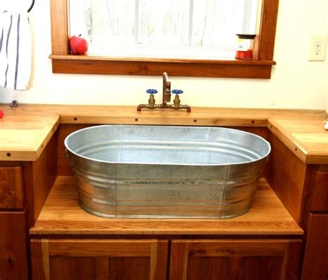 How To Make A Rustic Bathroom Vanity by Galvanized Tub Used To Shape A Custom Bathroom Vanity