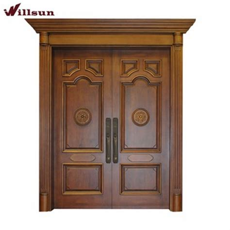 Indian Model Teak Wood Panels Carved Main Front Double