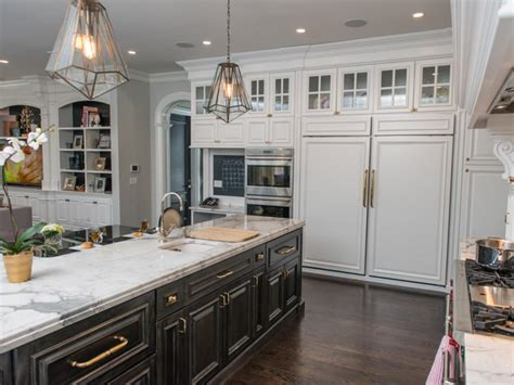 built in kitchen island transitional kitchen with built in pantry storage hgtv 4990