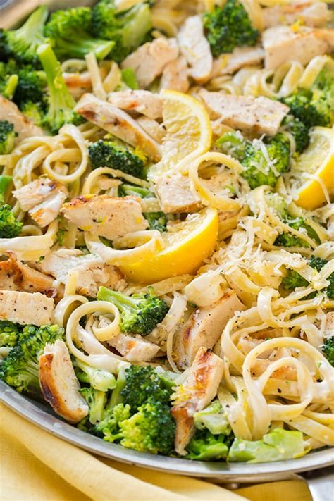 Lemon Fettuccine Alfredo with Grilled Chicken and Broccoli ...
