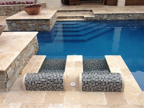pool bathroom ideas blend walnut travertine pavers traditional pool