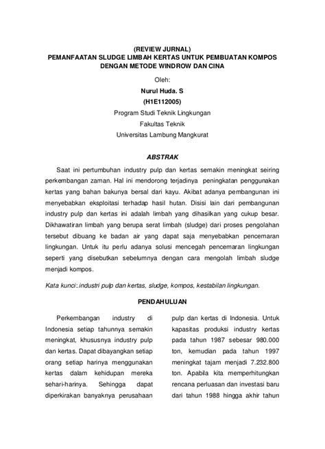 review jurnal pemanfaatan sludge limbah kertas untuk