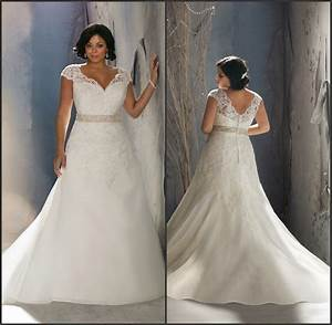buy stunning beading lace a line short sleeve plus size With a line wedding dresses plus size