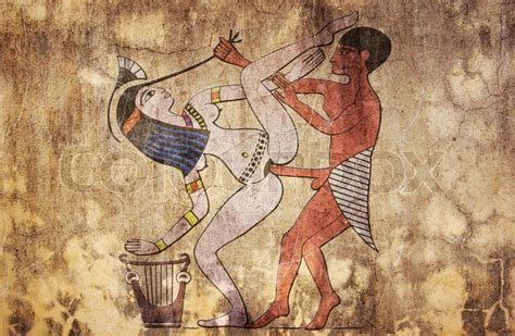 Erotic drawing from ancient Egypt look like fresco | Stock Photo | Colourbox