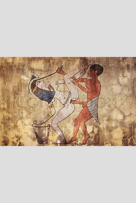 Erotic drawing from ancient Egypt look like fresco   Stock Photo   Colourbox