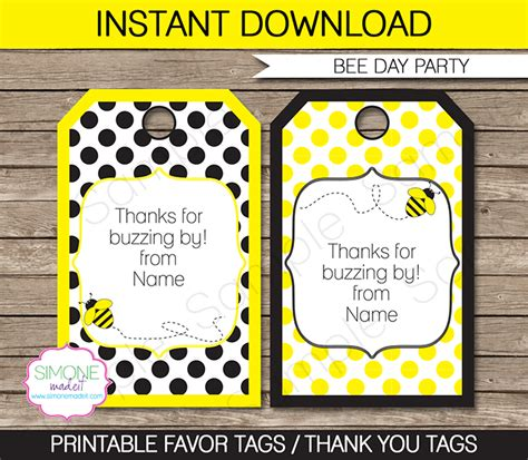name badges templates bee party favor tags template thank you tags