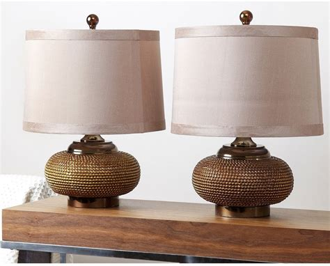 bronze table ls for living room modern table l set of 2 fabric shades gold antique