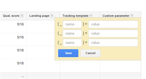 adwords tracking template adwords custom parameters on keyword level and all others landing page url