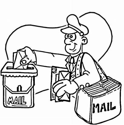 Coloring Pages Office Sketch Postman Colouring Mailman