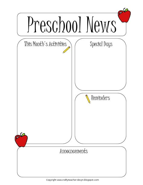 Free Newsletter Templates For Teachers by Preschool Newsletter Template The Crafty