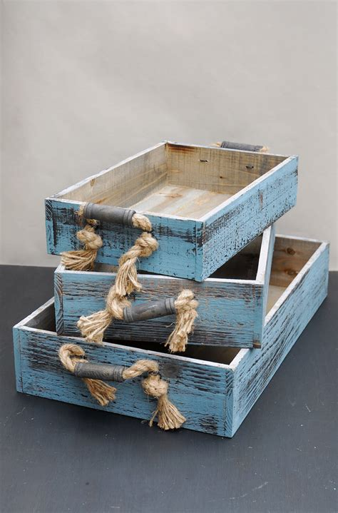 wood trays  rope handles