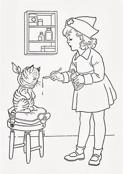 Flu Coloring Winter Nurse Pages Well Printable