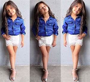 2015 New Girls Outfits Children Clothes Kids Clothing Denim Jacket Summer Lace White Shorts Girl ...