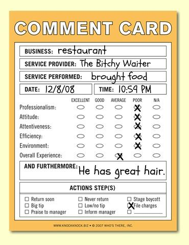 A Comment On Comments, The Allergy Edition  The Bitchy Waiter. Nursing Handoff Report Template. Pizza Party Invitations Template. Lawn Mowing Business Cards. Online Pregnancy Announcement. Summer Jobs For Highschool Graduates. Recent Graduate Jobs Dc. Unique Mock Invoice Template. Stampin Up Graduation Cards