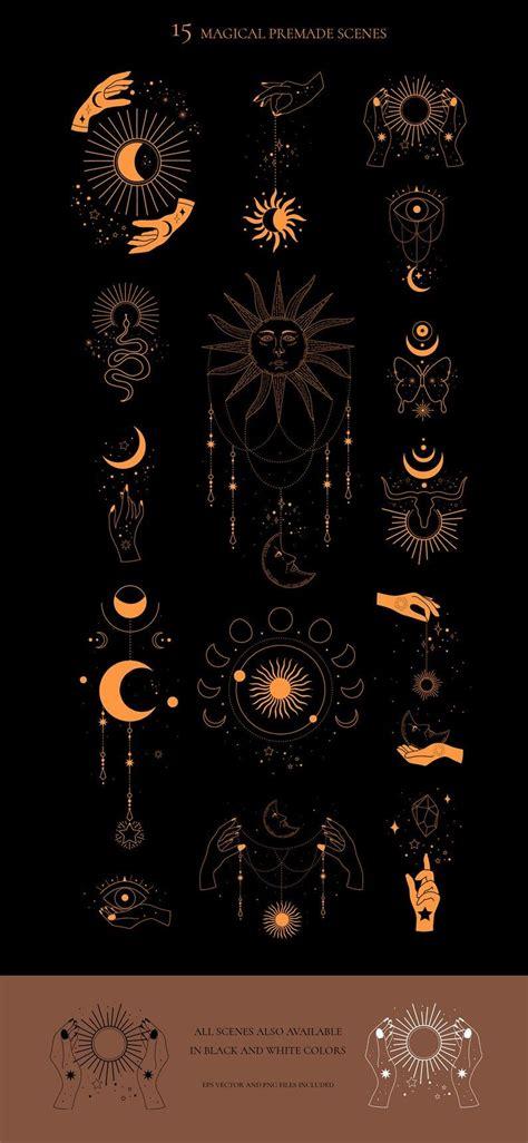 MYSTICAL celestial sun moon magic clipart, Cosmic esoteric ...