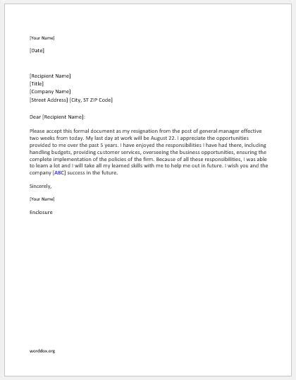 General Manager Resignation Letter | Word Document Templates