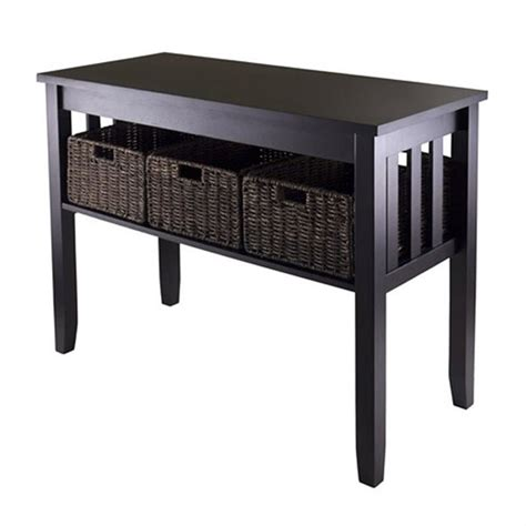 Morris Console Hall Table With 3 Foldable Baskets In