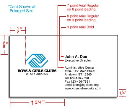 bussines card size dimensions