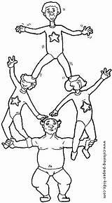 Coloring Pages Coloriage Acrobat Sports Pyramide Humaine Acrobats Da Para Colorare Disegni Dibujos Printable Dessin Imprimer Pintar Sheets Colorear Desenhos sketch template