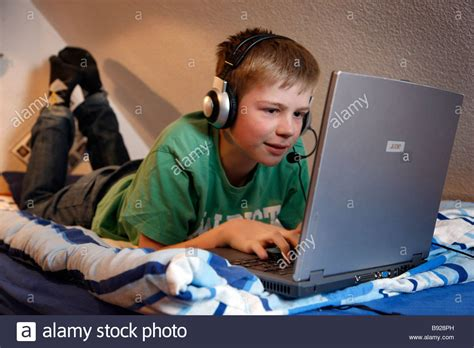 A Boy, Years Old, Is Chatting In His Child Room And